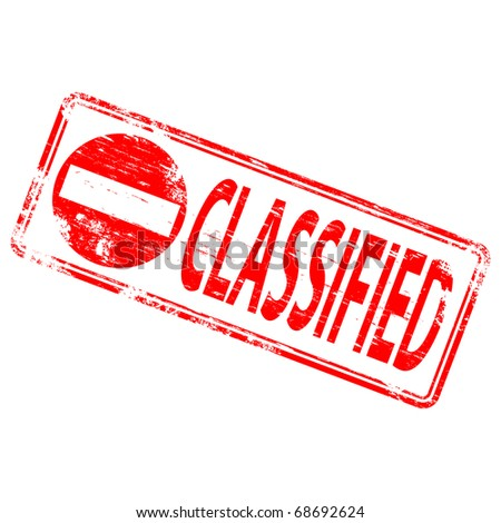 """Rubber stamp illustration showing """"CLASSIFIED"""" text - stock vector"""