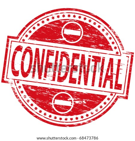 """Rubber stamp illustration showing """"Confidential"""" text and symbol - stock vector"""
