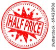 """Rubber stamp illustration showing """"HALF PRICE"""" text - stock vector"""