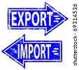 "Rubber stamp illustration showing ""IMPORT EXPORT"" text - stock vector"