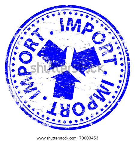"Rubber stamp illustration showing ""IMPORT"" text"