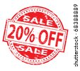 "Rubber stamp illustration showing ""20% Off"" text - stock vector"