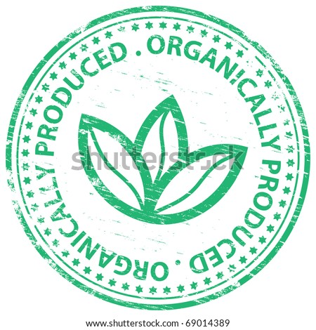 "Rubber stamp illustration showing ""ORGANICALLY PRODUCED"" text - stock vector"
