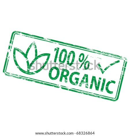 "Rubber stamp illustration showing ""100 percent organic"" text and symbol - stock vector"
