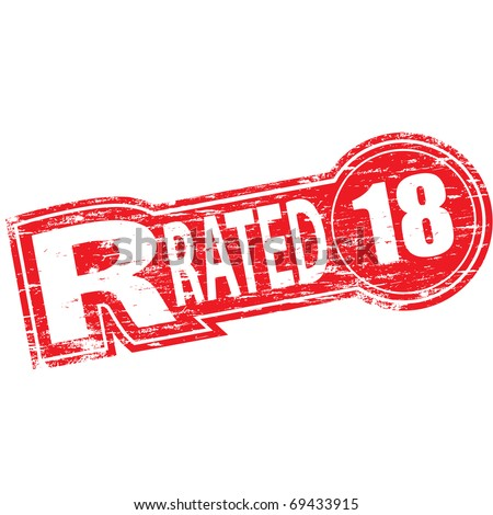 """Rubber stamp illustration showing """"R RATED"""" text and 18 symbol - stock vector"""
