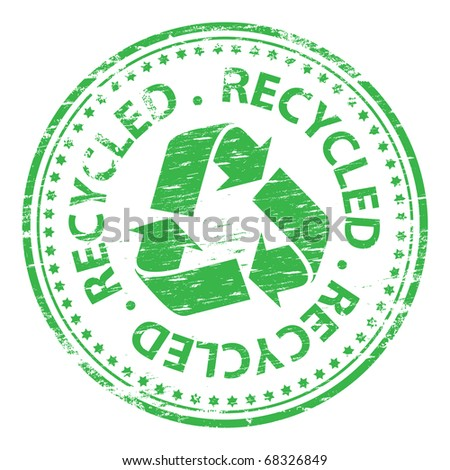 """Rubber stamp illustration showing """"recycled"""" text and symbol - stock vector"""
