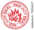 "Rubber stamp illustration showing ""RED HOT DEAL"" text - stock photo"