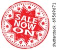 """Rubber stamp illustration showing """"SALE NOW ON"""" text - stock vector"""