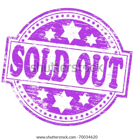 """Rubber stamp illustration showing """"SOLD OUT"""" text - stock vector"""