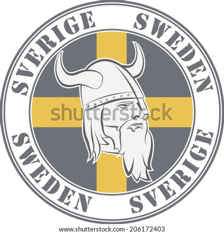 Rubber Stamp Sweden Viking Head Swedish Stock Vector 206172403