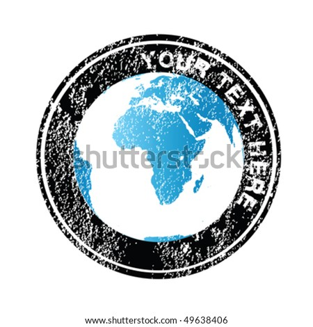 Rubber stamp with blue Earth globe - stock vector