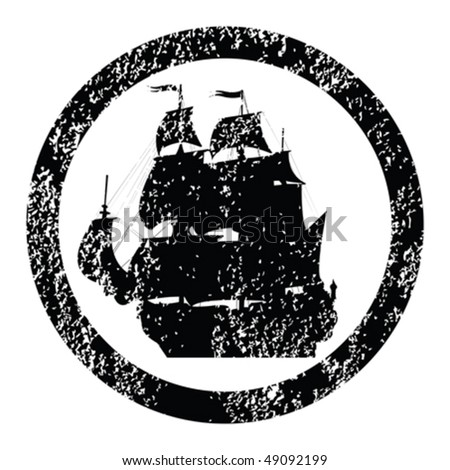 Rubber stamp with brigantine silhouette - stock vector