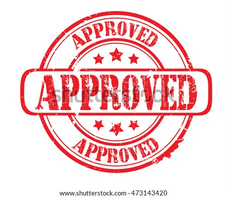 "rubber stamp with text ""approved"" on white, vector illustration"
