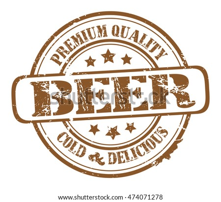 "rubber stamp with text ""beer, premium quality cold and delicious"" on white, vector illustration"
