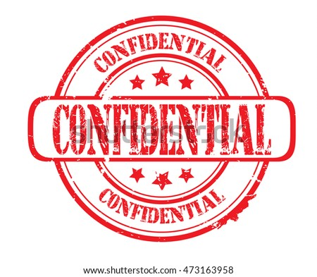 "rubber stamp with text ""confidential"" on white, vector illustration"
