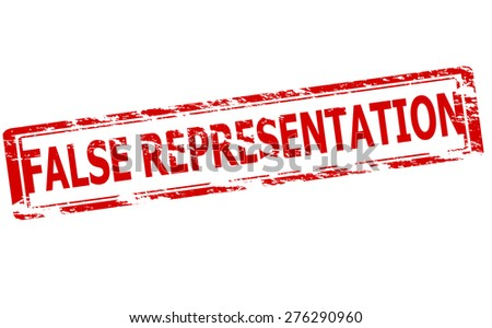 Rubber stamp with text false representation inside, vector illustration