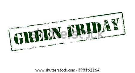Rubber stamp with text green Friday inside, vector illustration