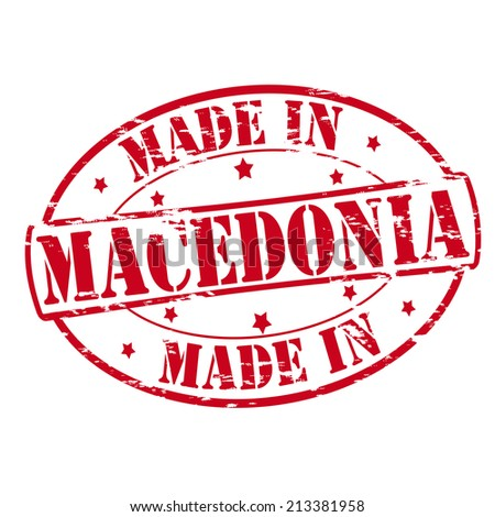 Rubber stamp with text made in Macedonia inside, vector illustration