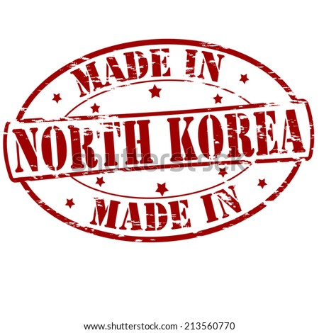 Rubber stamp with text made in North Korea inside, vector illustration
