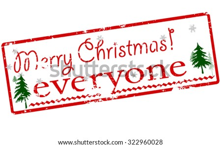 Rubber stamp with text Merry Christmas everyone inside, vector illustration - stock vector