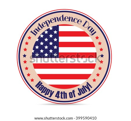 rubber stamp with word Independence day ,4 July and US flag inside