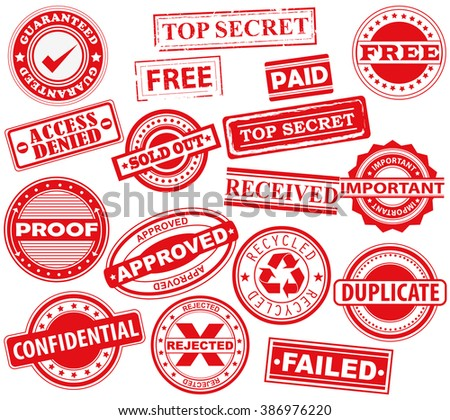 Rubber Stamps, Badge, Placard, Notice, Seal,  Message, Alert -  Icon Pack- Illustration - stock vector