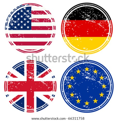 Rubber stamps with flags - stock vector