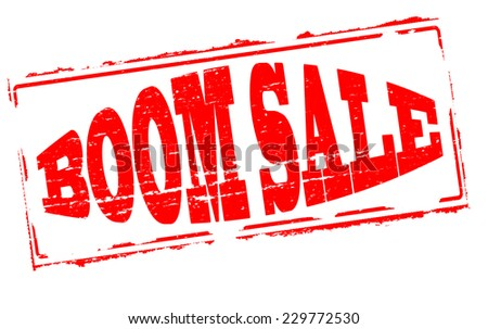 Rubber stamps with text boom sale inside, vector illustration