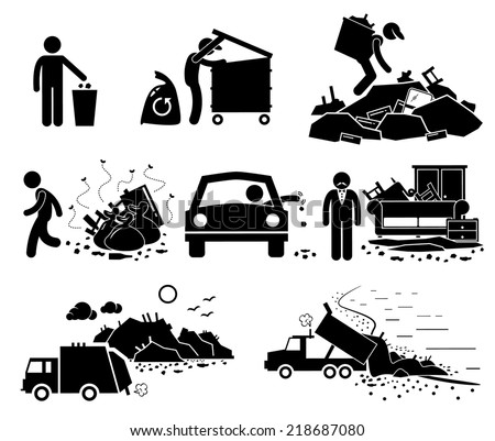 Rubbish Trash Garbage Waste Dump Site Stick Figure Pictogram Icons - stock vector