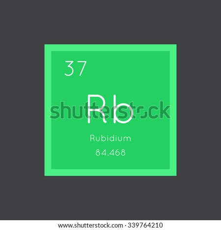 Rubidium simple style tile icon. Chemical element of periodic table. Vector illustration EPS8