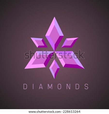 Ruby gems logo template - stock vector