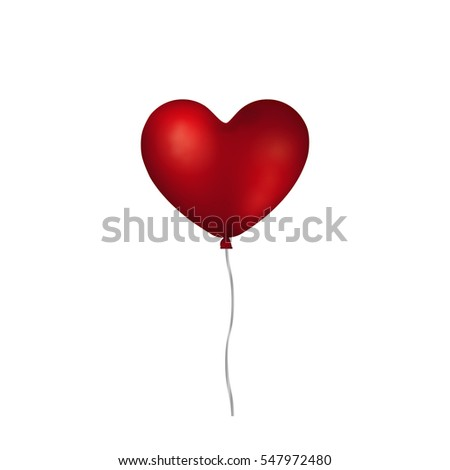 Ruby red realistic heart shaped helium balloon isolated on white background.