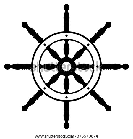 Rudder silhouette isolated on white background. Ship steering wheel. Helm wheel.  - stock vector