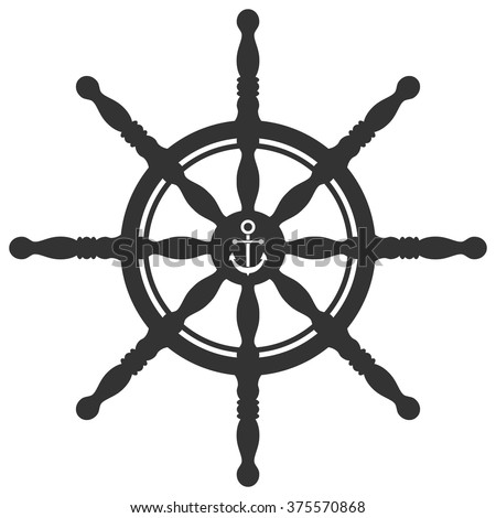 Rudder silhouette with anchor ornament isolated on white background. Ship steering wheel. Helm wheel.  - stock vector