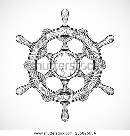 rudder with rope, hand drawn sketched doodle style, isolated vector illustration emblem on a white background. - stock vector