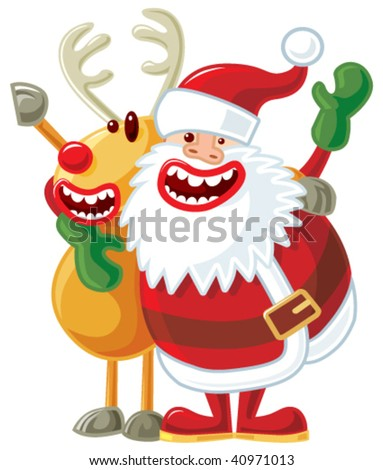 Rudolph and Santa singing - stock vector