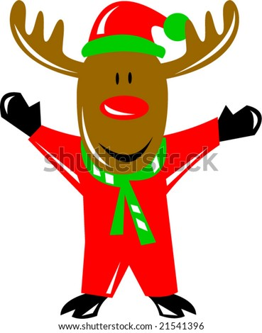 Rudolph the Red Nosed Reindeer in santa suit - stock vector