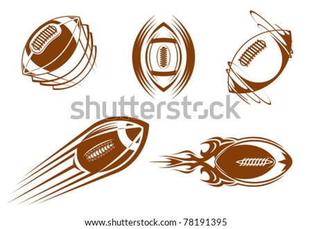 Rugby and american football symbols for mascots or sports design, such a logo. Jpeg version also available in gallery - stock vector