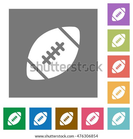 Rugby ball flat icon set on color square background.