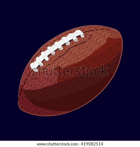 Rugby ball. Hand drawn VECTOR illustration isolated on dark blue