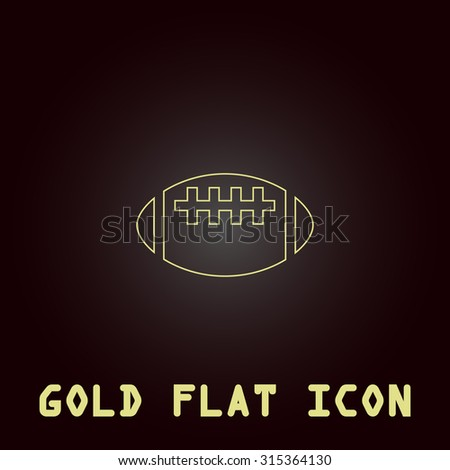 Rugby ball. Outline gold flat pictogram on dark background with simple text.Vector Illustration trend icon