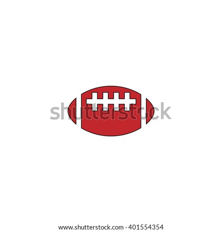 Rugby ball. Red flat simple modern illustration icon with stroke. Collection concept vector pictogram for infographic project and logo - stock vector