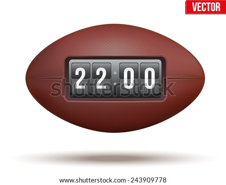 Rugby ball with the score of the game. Realistic Vector Illustration. - stock vector