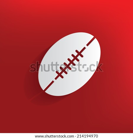 Rugby design on red background,clean vector - stock vector