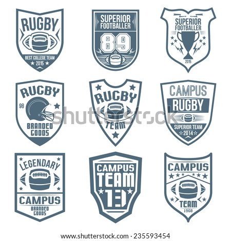 Rugby emblems in flat style - stock vector