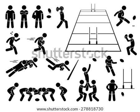 Rugby Player Actions Poses Stick Figure Pictogram Icons - stock vector