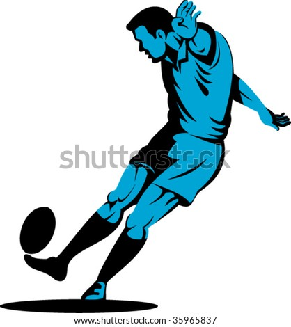 Rugby player kicking goal - stock vector