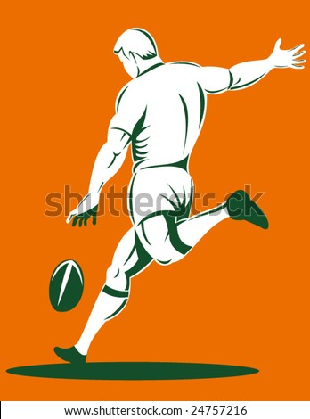Rugby player kicking the ball - stock vector