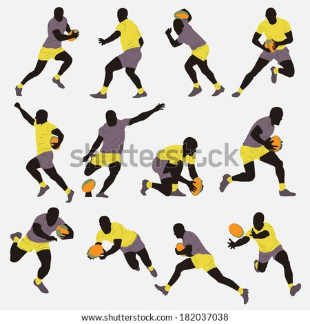 Rugby Player Silhouette - stock vector