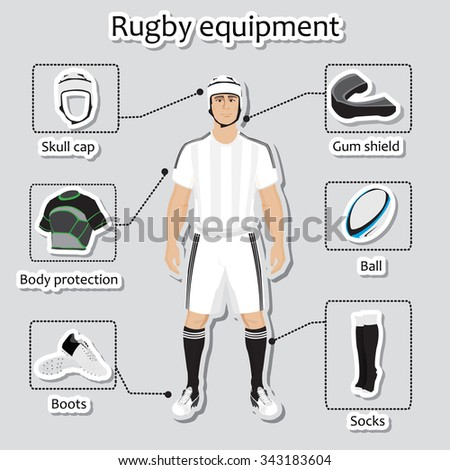 Rugby player uniform and other sport equipment  - stock vector